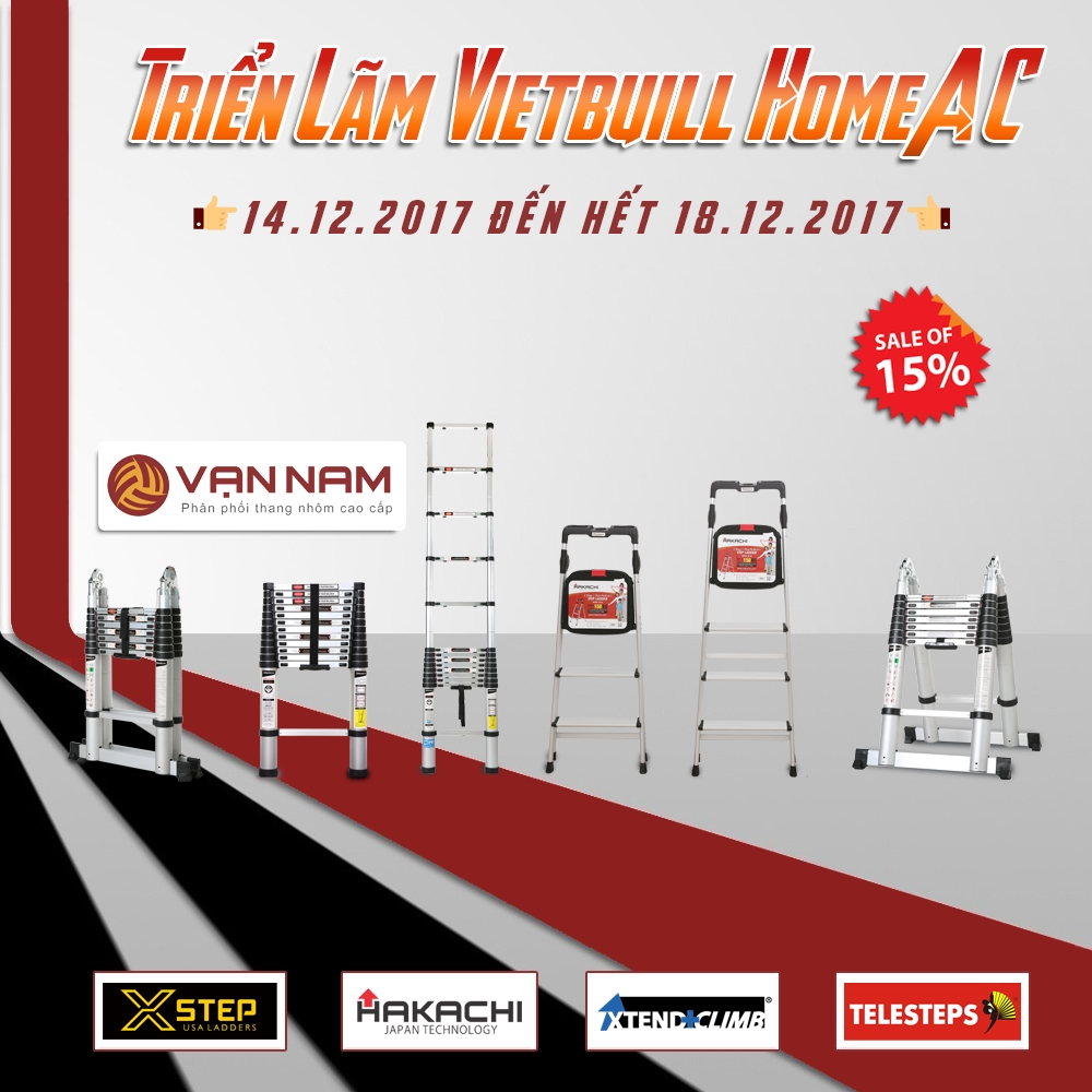 Vạn Nam giảm giá 15% toàn bộ thang nhôm tại Vietbuild từ 14 - 18.12