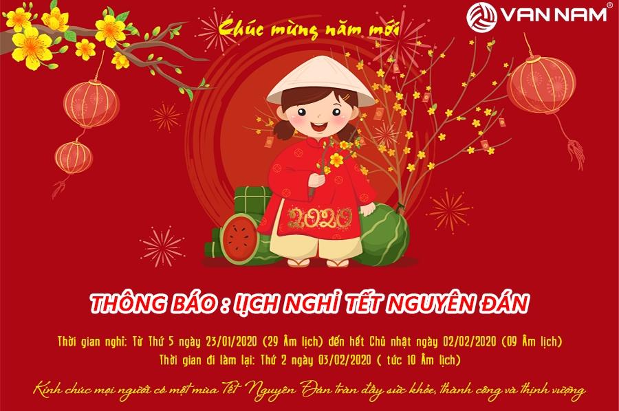 Vạn Nam thông báo lịch nghỉ Tết Canh Tý 2020