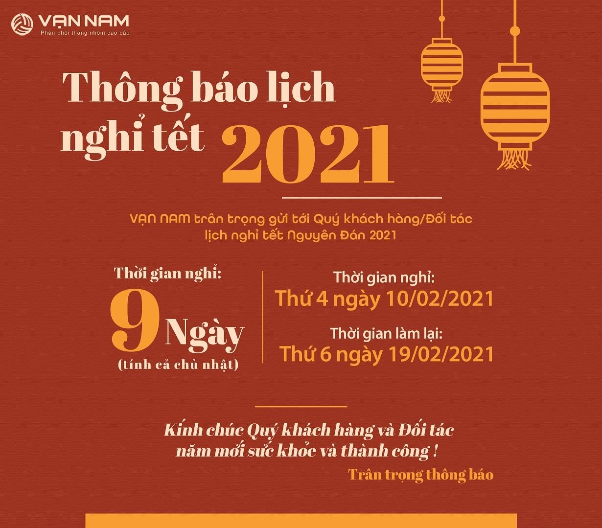 Vạn Nam thông báo lịch nghỉ Tết Tân Sửu 2021